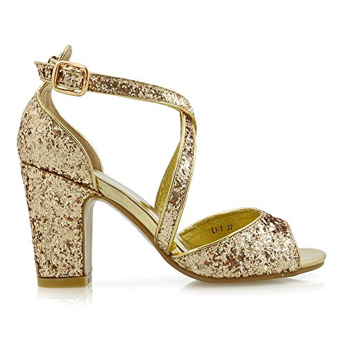 Essex Glam Femmes Strappy Talon Bloc Bridal Shimmer Gold Shimmer Chaussures