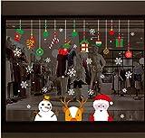 ZBYLL Pegatina De Ventana De Navidad Poco Muñeco De Nieve Santa Claus Copo De Nieve De Cabeza De Ciervo Dormitorio Salón Decoración