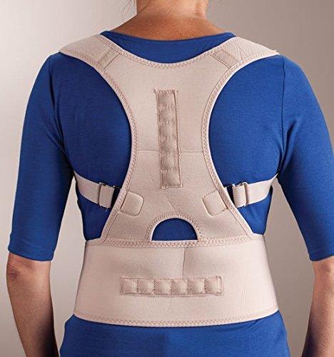 Ducomi® Extreme Posture-Corrector Postura Ajustable a Banda Magnética para Espalda-Correa de Soporte y Ayuda de Corrección con 12Imanes 800Gauss (Beige, L)