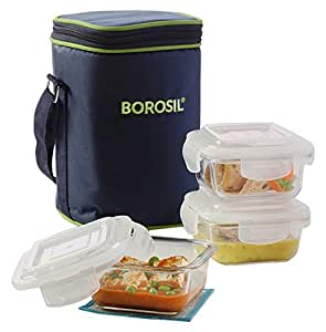 Borosil Klip N Store Microwavable Containers with Lunch Bag (Color May Vary), 320ml, Set of 3, Clear
