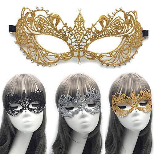 VJUKUBCUTE Packung Von 3 Sexy Frauen Schwarzes Gold Und Graue Vintage-Spitze Masquerade Ausgefallene Kleid Masken Venezianischen Eyemask-Halloween Mardi Gras Party Maske (Mardi-gras-kostüme Machen, Einfach)