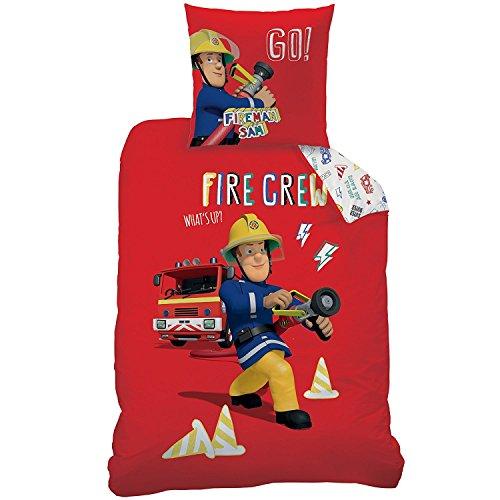 SAM LE POMPIER - Parure de lit : Housse de Couette (140x200) + Taie d'Oreiller (63x63) - 100% Coton -Fireman Sam Crew
