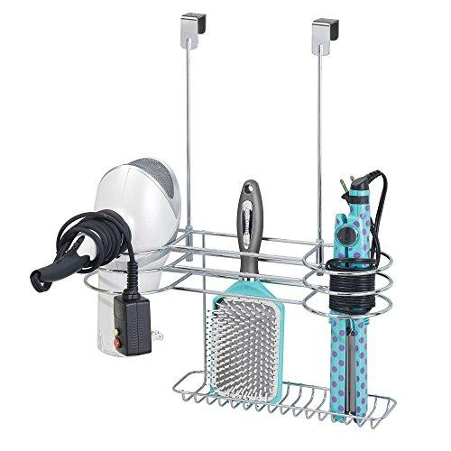 mDesign Fönhalter ohne Bohren – großes Türregal zur Fön Aufbewahrung im Bad – optimaler Badorganizer für Lockenstab, Glätteisen und Haartrockner – silberfarben