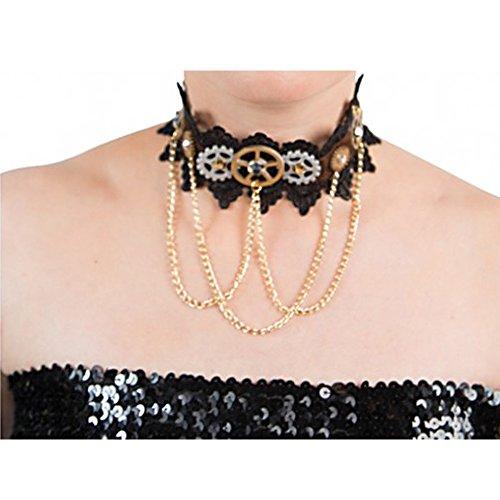 Steampunk Collier Halsband Zahnräder Kette Zeitreise Victorian 19. -