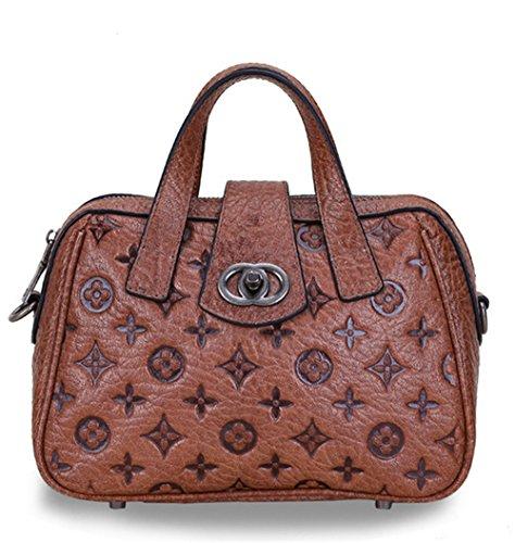 Xinmaoyuan Damen Handtaschen Vintage Damen Handtasche Kopf Schicht Rindsleder Kette geprägtem Leder Tasche, Rot Kaffee
