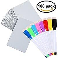 DOER – DIY cartes vierges - Avec 8 couleurs assorties marqueur effaçable à sec - Réutilisable - Pour les jeux de cartes | Cartes Flash | Cartes de visite - 100 cartes (0.38mm(épaisseur de la carte))