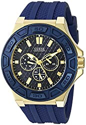 Guess Men's U0674g2 Sporty Gold-tone Stainless Steel Watch With Multi-function Dial & Blue Strap Buckle