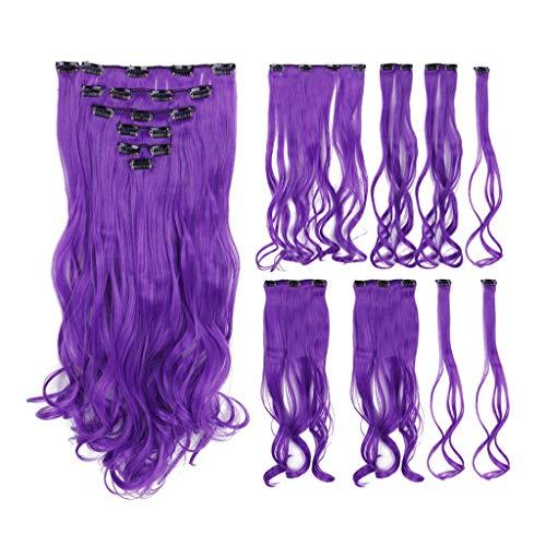 Perücke 20 Zoll Farbe 8 Stück Set Perücke Haarverlängerung Stück Trennung Raum Thema Party/Maskerade/Halloween/COSPLAY (Color : A)