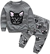 ZARU Bebés Niños Conjunto de prendas de vestir de manga larga Cats Print Tracksuit + Pantalones Conjunto de trajes
