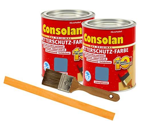 Consolan Wetterschutzfarbe deckend / 2x 0,75L taubenblau 218 / Holzschutzfarbe Holzfarbe bis zu 10 Jahre wetterbeständig für Holz und Zink Außen inkl. Pinsel & Rührstab