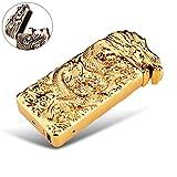 Elektronisches Feuerzeug Lichtbogen wiederaufladbar windgeschützt mit USB Ladekabel PADGENE (Gold/Drache)