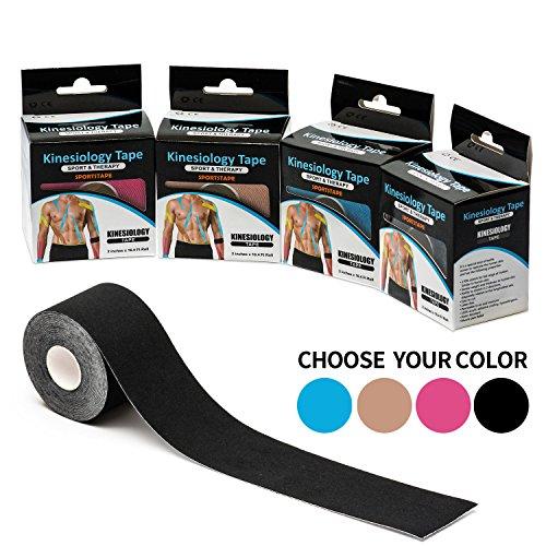 Kinesiologie Tape(1 Rolle Packung),Sports Muskel Tape,FDA-Zertifiziert. Schmerzlinderung, Bietet Muskelunterstützung. Wasserdicht, Atmungsaktiv, Baumwolle, Uncut 5cm×5m gesamte Rolle (ROSA)
