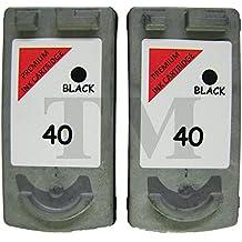 Remanufacturado PG-40Twin Pack negro cartuchos de tinta para Canon Pixma MP140, MP150, MP160, MP170, MP180, MP190, MP210, MP220, MP450impresoras