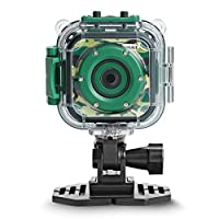 DROGRACE Kids Camera 1080P HD Digital Camera Waterproof Sports Action Camera Underwater Video Camcorder for Girls Boys Birthday Holiday Gift Children First Camera (Green)