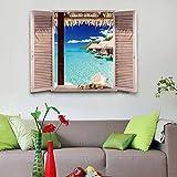 Meer Blauer Himmel Weiße Wolke Strand Fenster Ansicht Simulation Abnehmbare Wand Aufkleber Aufkleber Wohnzimmer Schlafzimmer Home Decor 3D Wandbild Kunst Landschaft Poster (50 X 70 Cm)
