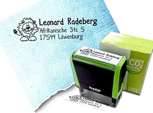 Stempel Individueller Adressstempel Kleiner LÖWE - Schulstempel personalisiert Name Adresse Tier, Geschenk für Kinder - AUTOMATIKSTEMPEL Trodat Printy 4913 - zAcheR-fineT