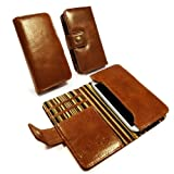 Alston Craig Vintage echt Leder Brieftaschen Case Hülle Tasche für Samsung Galaxy S2 S3 S4 (olivengrün gestreift) (gratis Bildschirmschutz) - braun