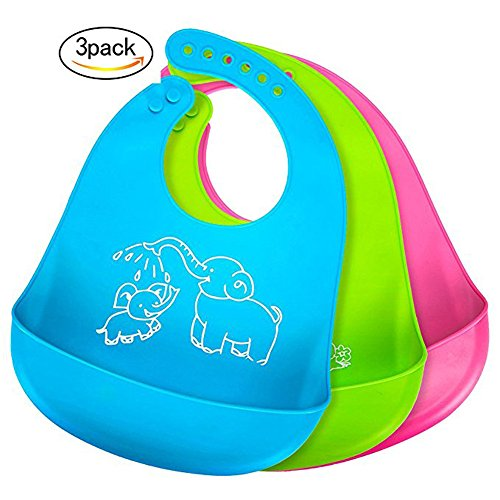 TIANXIN Baby Bibs Waterproof Silicone Bib,Comfort Fit Fabric Neck Silicone- Roll Up Bibs Comfortable Soft for Newborns Infant Toddlers, Easily Wipes Clean ,Set of 3 Colors