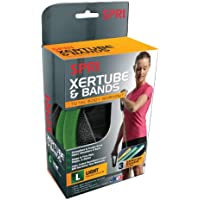 SPRI Xertube Resistance Bands Kit with Door Attachment (1 Green Xertube, 3 Xercise Bands