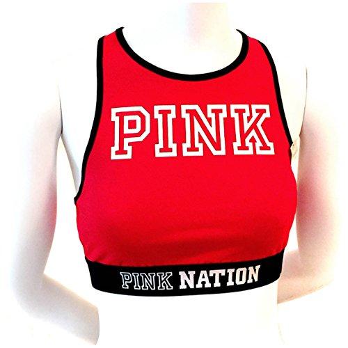 new-genuine-pink-by-victorias-secret-womens-pink-nation-bralette-sports-bra-red-medium