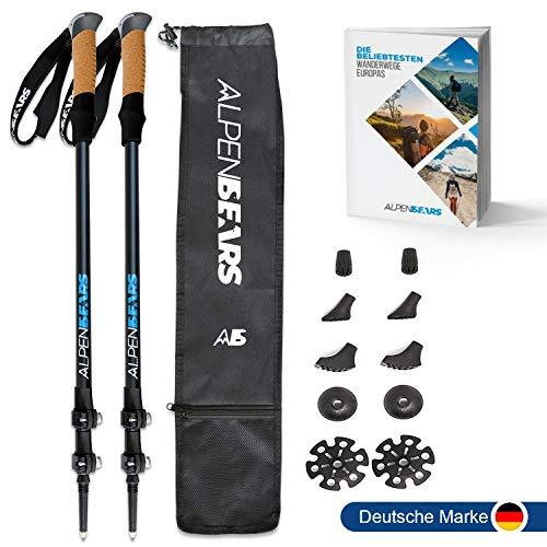 Alpen Bears Premium Wanderstöcke mit Echt-Kork Griff - Teleskop Wanderstock leicht für Herren & Damen I Trekkingstöcke verstellbar - Nordic-Walking-Stock*