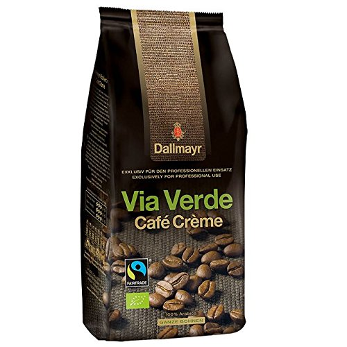 Dallmayr Cafe Crema Via Verde, 6 x 1kg ganze Bohne, 100% Arabica, Fairtrade