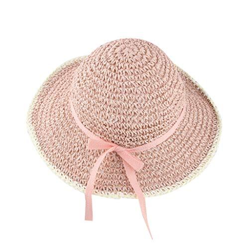 Zegeey Baby MäDchen Sommer Strand Atmungsaktiv Hut Stroh Hut Sonnenschutz Caps HüTe MüTze Beach Outdoor Hut(C3-Rosa) -