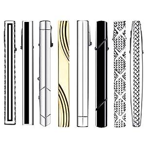 HBselect 8-er Krawattenklammer aus Kupfer Tie Clips 58mm Krawattennadelverschiedene Formen geeignet für jede Situation mit Geschenkbox klassische Accessoires für Herren