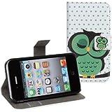 Cuir Coque Strass Case Etui Coque étui de portefeuille protection Coque Case Cas Cuir Swag Pour iphone 4 4s 4G Vert Owl