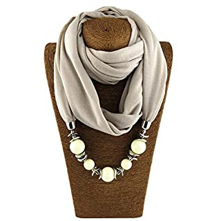 ANDAY Beads Pendant Round Neck Collar Necklace Neckerchief Scarf Necklaces Women Ethnic Jewelry Vintage Accessories Light Grey