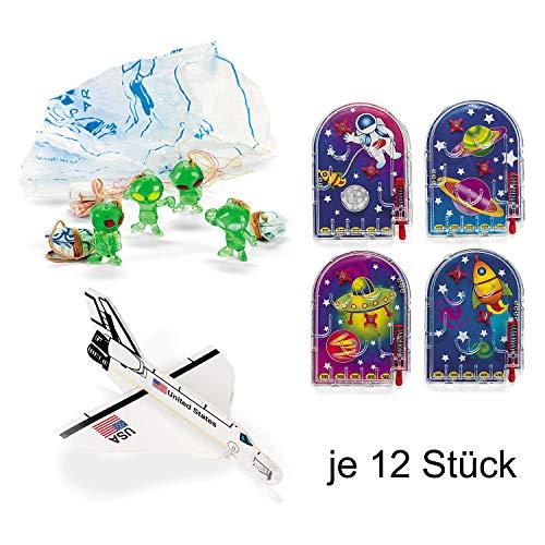 cama24com Weltraum Space Mitgebsel-Set B 36 Teile Space Shuttle Flipper Fallschirmspringer mit Palandi® Sticker (Masse Partyartikel In Der)