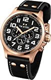 TW Steel Pilot Unisex Quartz Watch with Black Dial Chronograph Display and Black Leather Strap TW419