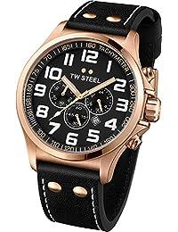 TW Steel Unisex-Armbanduhr Pilot Chronograph leder schwarz TW419