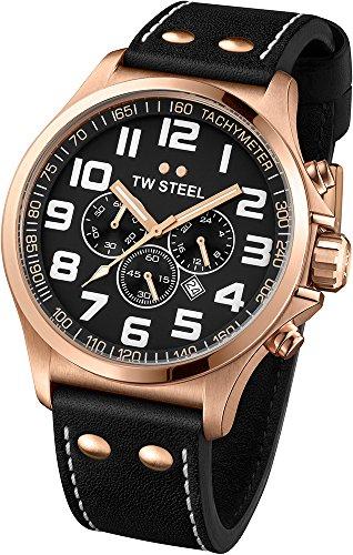 TW Steel - TW419 - Montre Mixte - Quartz Chronographe - Bracelet Cuir Noir
