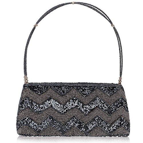 ERGEOB® Donna Clutch sacchetto di sera borsetta mano-perla taschino diamante festetaschino grigio