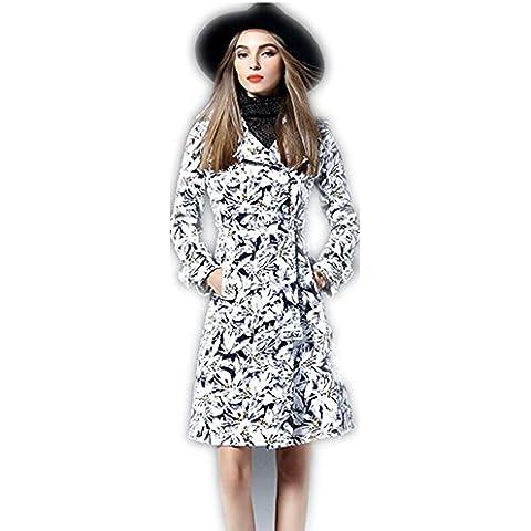 Donna a maniche lunghe cappotto bavero linea femminile era vita sottile , white , m