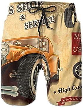 Classic Cars Pattern Men's/Boys Casual Swim Trunks Short Elastic Waist Beach Pants with Pockets