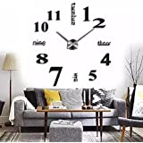 Asunflower® 3D Large Frameless Wall Clock Style Watches Hours Mirror Sticker Big Watch DIY Room Home Decorations (Black)