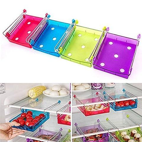 Generic Rouge: Slide de cuisine réfrigérateur congélateur Space Saver Organiseur Rack de stockage étagère support Hot