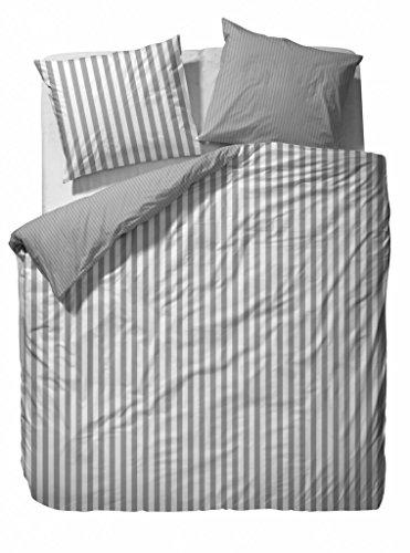 Marc O'Polo 730001-100DE-019 Bettwäsche Classic Stripe, Maße: 1-er set 155 x 220 und 80 x 80 cm, Material: 100% Baumwolle / Satin, Farbe: Grau (Stripe Grau Polo)