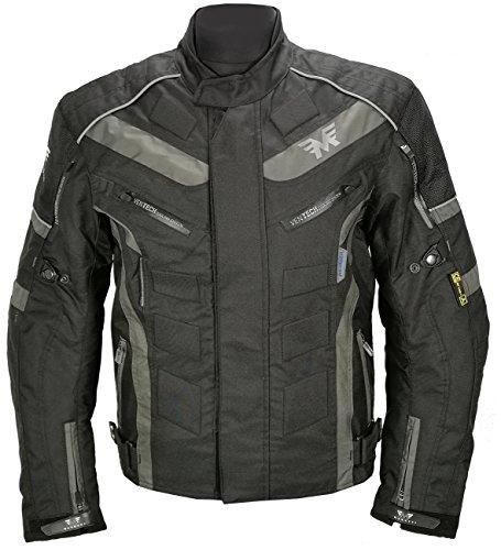 Marutti giacca moto da motociclista da uomo impermeabile per tutte le stagioni cappotto corto in tessuto cordura in nero/grigio xl