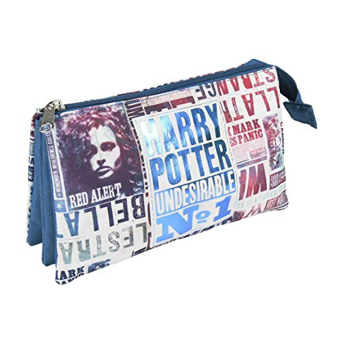 Artesania Cerda Harry Potter - Estuche con 3 Compartimentos, 22 cm, Azul