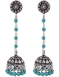 Ganapathy Gems Oxidized Silver Jhumki For Women (Blue)