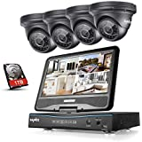 Sannce 4CH 720P HD Security DVR Recorder, 1TB HDD  10.1-inch LCD Screen Monitor Build-in, w/ 4 1.0MP Outdoor CCTV Cameras System, Hi-Resolution,