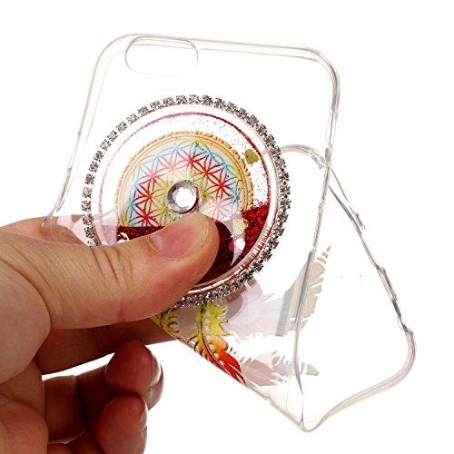 Custodia per Apple iPhone 6/6S 4.7 case,Herzzer Mode Crystal iPhone 6/6S 4.7 Elegante Creativo trasparente acchiappasogni con Bling Diamanti Strass Glitter liquido cuore amore Sabbie mobili Flusso B Rosso