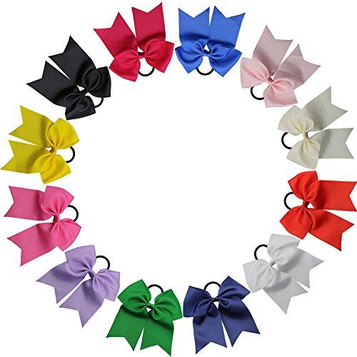QtGirl 12 stk 18cm große Haarschleifen Cheerleader Haarband für Mädchen aus Ripsband und (Cheerleader Die Für Outfits Kinder)