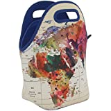 """Neoprene Lunch Bag By ART OF LUNCH - Large [12"""" X 12"""" X 6.5""""] Gourmet Insulating Lunch Tote - All Proceeds Go To Support The World Summit - Design By Mark Ashkenazi (Israel) - World Map"""
