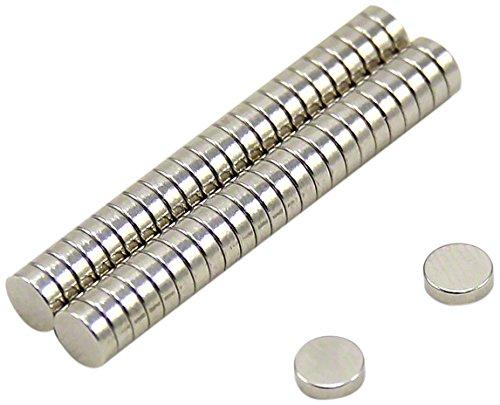 First4magnets F0502-N35-50 5mm Durchmesser x 2mm dicker N35 Neodym-Magnet - 0,51kg Anziehungskraft (50 St.-Packung), Dia Thick, Stück