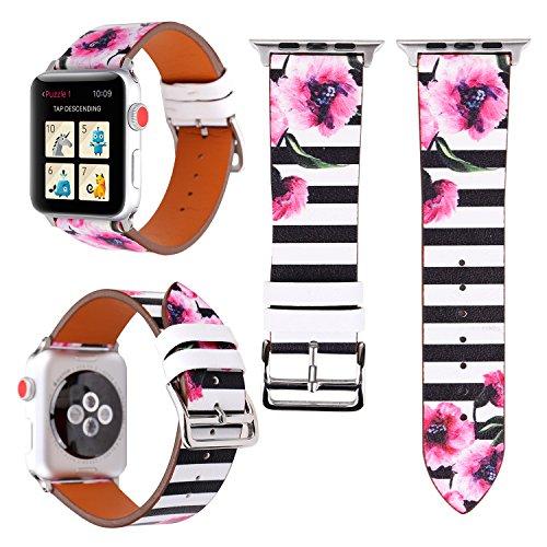 Gimartuk 38mm 42mm Floral Strap für Apple Watch, Mikrofaser Leder Ersatz Armbanduhr Band Armband für Apple Watch iWatch Serie 3/2/1, damen, WF-390, schwarze Streifen, 38 mm (Kompatibel Schwarz Smart Print)