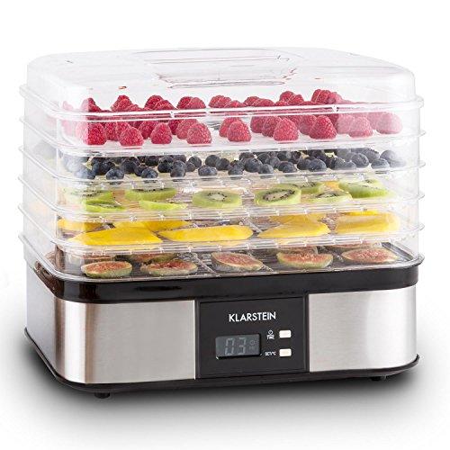 Klarstein Valle di Frutta essiccatore per alimenti con 5 ripiani a maglia aggiungibili (250 Watt, display LCD, timer fino a 36h, range di temperatura da 40 a 70°C, telaio in acciaio inox) - argento